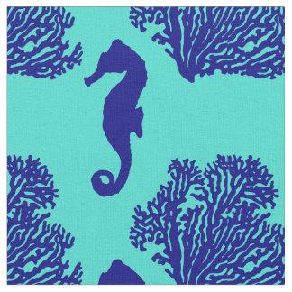 Motif côtier d'hippocampe de turquoise de marine tissu