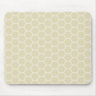 Motif crème kaki de nid d'abeilles d'hexagone tapis de souris