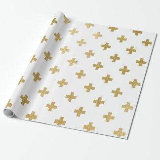Motif croisé suisse de feuille d'or de Faux Papiers Cadeaux