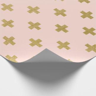 Motif croisé suisse de feuille d'or de Faux Papiers Cadeaux Noël