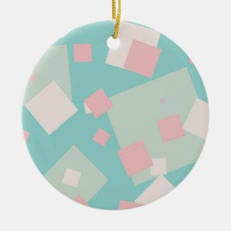 Motif cyan et rose coloré moderne de boîtes ornement rond en céramique