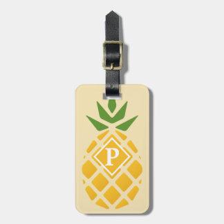 Motif d'ananas avec d'identification le dos dessus étiquettes bagages