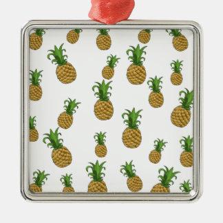 Motif d'ananas ornement carré argenté