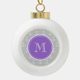 Motif d'ancres de blanc gris, monogramme pourpre boule en céramique
