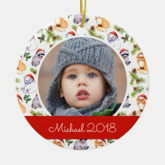 Motif d'animaux de forêt d'aquarelle de Noël Ornement Rond En Céramique