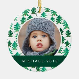 Motif d'arbre de Noël d'aquarelle Ornement Rond En Céramique