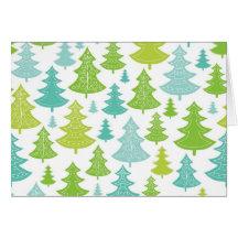 Motif d'arbres de Noël de vacances Carte De Vœux
