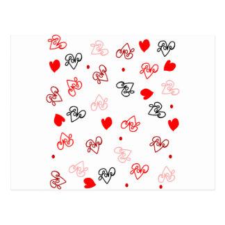 Motif d'art de mot d'amour et de coeurs cartes postales