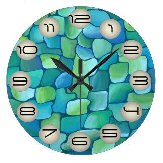 Motif d'art déco - Aqua avec des cercles de perle Grande Horloge Ronde