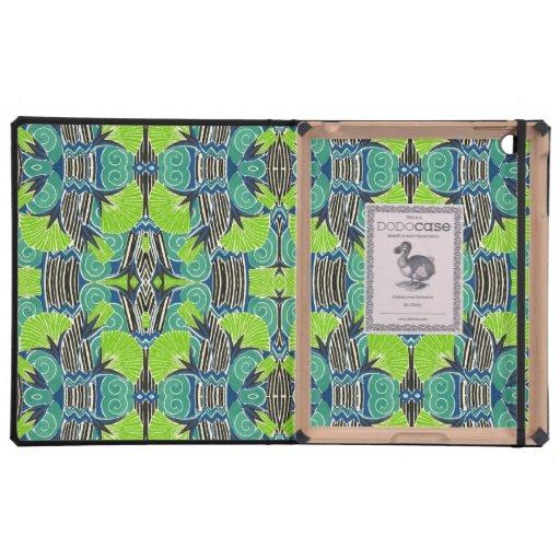 Motif d'art déco - verts tropicaux et bleus coques iPad