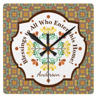 Motif d'automne de chrysanthème d'art populaire horloge carrée