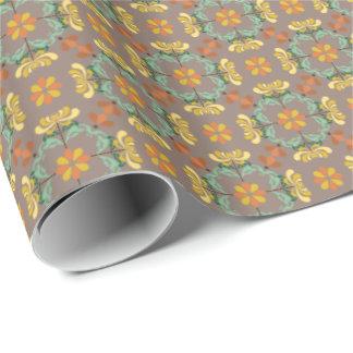 Motif d'automne de chrysanthème d'art populaire papier cadeau