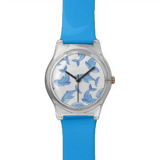 Motif de baleine bleue d'aquarelle montre