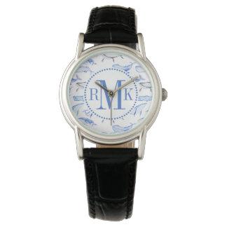 Motif de baleine bleue d'aquarelle montres bracelet