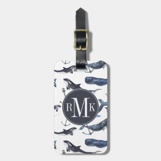 Motif de baleine et d'ancre d'aquarelle étiquette à bagage