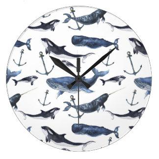 Motif de baleine et d'ancre d'aquarelle grande horloge ronde
