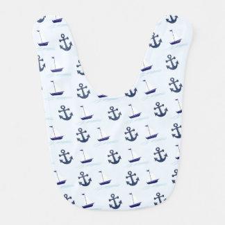 Motif de bateau à voile et d'ancre bavoir