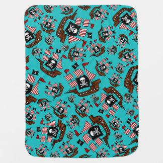 Motif de bateau de pirate de turquoise couvertures de bébé