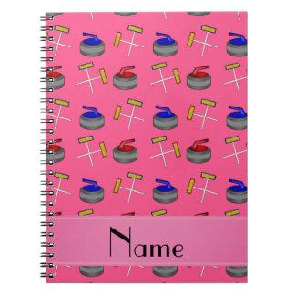 Motif de bordage rose nommé personnalisé carnets à spirale