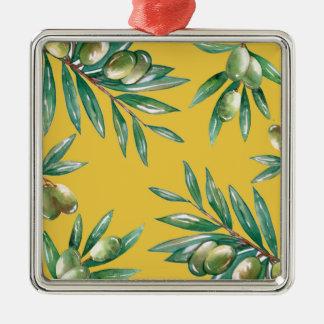 Motif de branche d'olivier ornement carré argenté