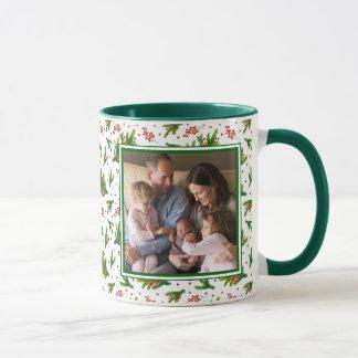 Motif de branches et de baies d'aquarelle de Noël Mug