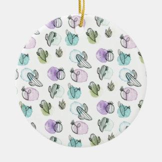 motif de cactus d'aquarelle ornement rond en céramique
