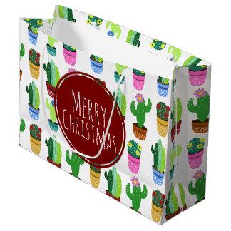 Motif de cactus de Joyeux Noël Grand Sac Cadeau
