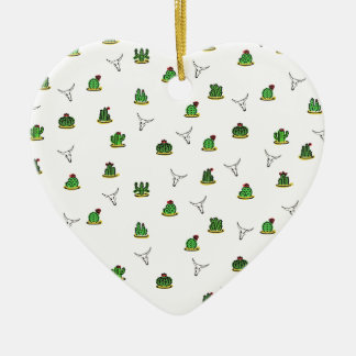 Motif de cactus ornement cœur en céramique