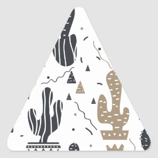 Motif de cactus sticker triangulaire