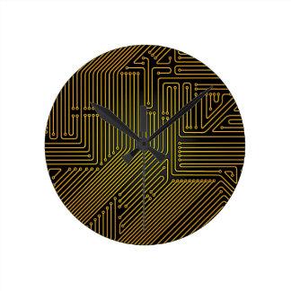 Motif de carte d'ordinateur horloge ronde