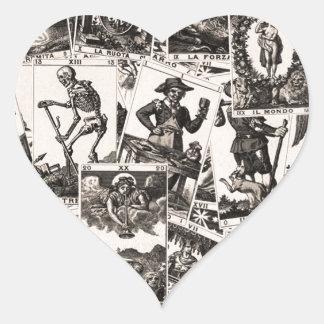 Motif de cartes de tarot sticker cœur