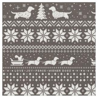 Motif de chandail de Noël de teckels Tissu
