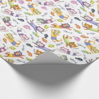 Motif de chats de plongée à l'air d'aquarelle papier cadeau noël