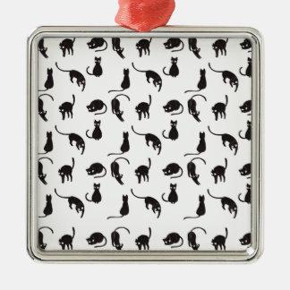 Motif de chats noirs ornement carré argenté