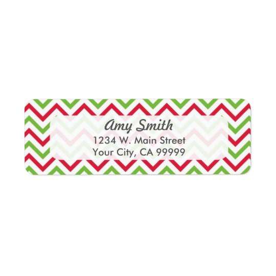 Motif de Chevron de Noël rouge et vert Étiquettes D'adresse Retour