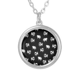Motif de chien de carlin pendentif rond