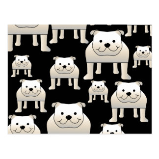 Motif de chiens. Bouledogues blancs sur le noir Cartes Postales