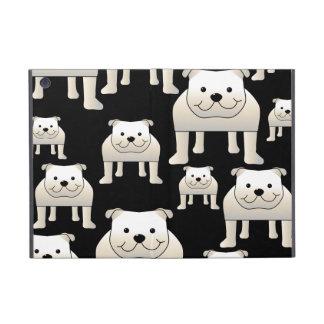 Motif de chiens. Bouledogues blancs sur le noir Étuis iPad Mini
