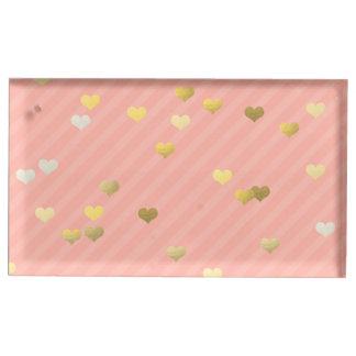 motif de coeurs d'amour de feuille d'or, rayures porte-cartes de  table