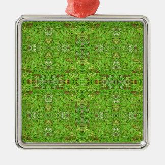 Motif de collage de nature de Digitals Ornement Carré Argenté
