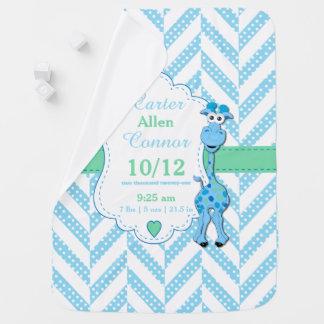 Motif de conception de girafe de bleus layette couverture pour bébé