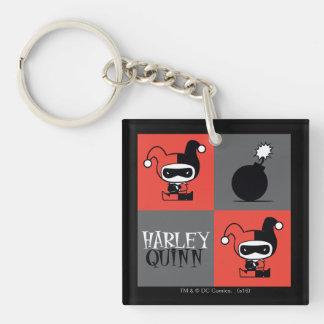 Motif de contrôleur de Chibi Harley Quinn Porte-clé Carré En Acrylique Double Face