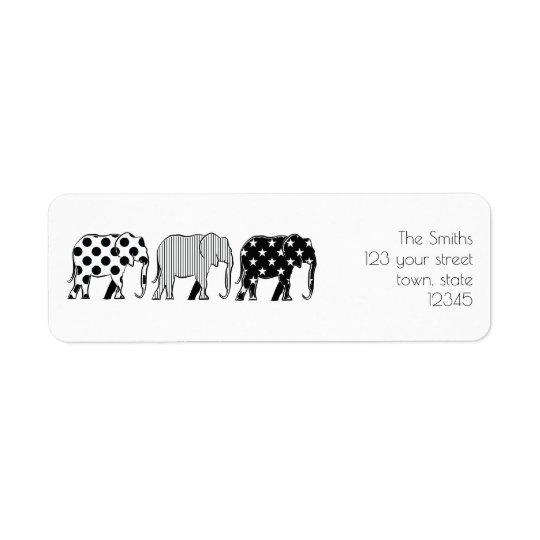 Motif de cool de noir d'éléphants de bande étiquettes d'adresse retour