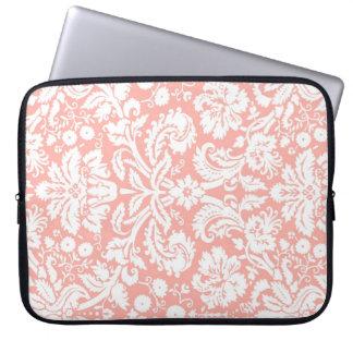 Motif de corail de damassé d ordinateur portable housse pour ordinateur portable