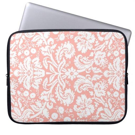 Motif de corail de damassé d'ordinateur portable housse pour ordinateur portable