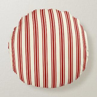 Motif de coutil rouge foncé et crème de rayures coussins ronds