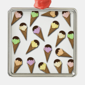 Motif de crème glacée ornement carré argenté