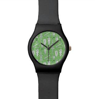 Motif de crocodile de croquis montres cadran