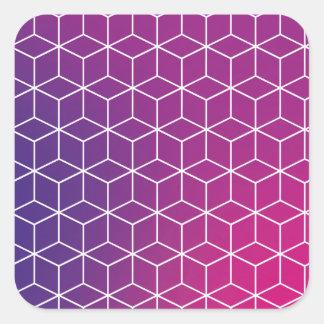 Motif de cube en gradient sur l'autocollant sticker carré