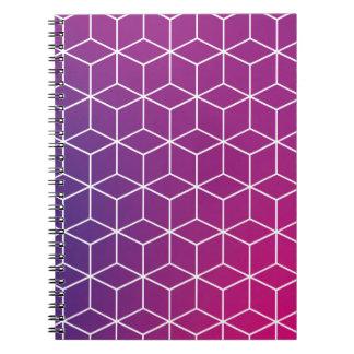 Motif de cube en gradient sur le carnet